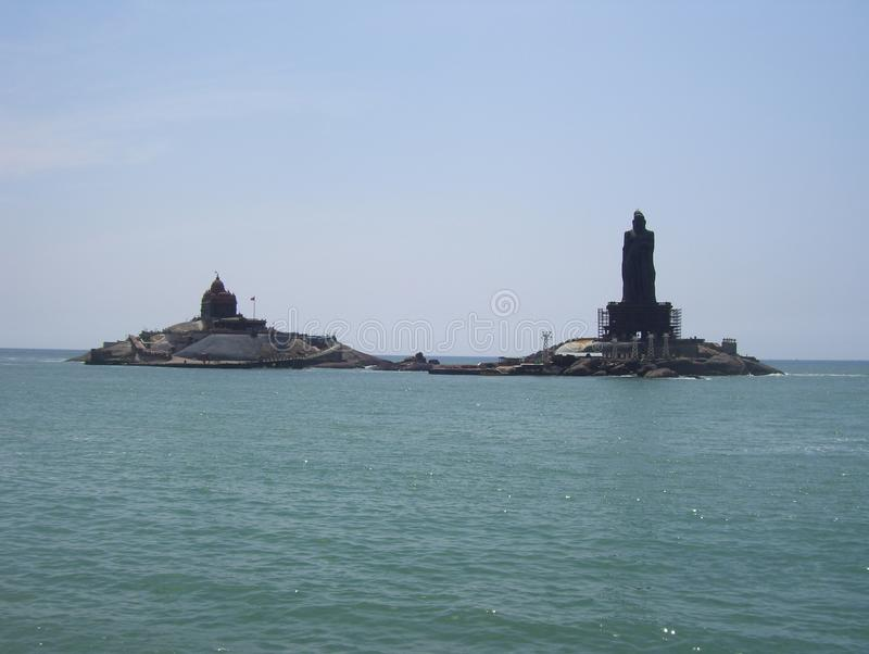 Kanyakumari, Tamil Nadu, India - October 7, 2008 Vivekananda Rock Memorial and Thiruvalluvar Statue royalty free stock photos