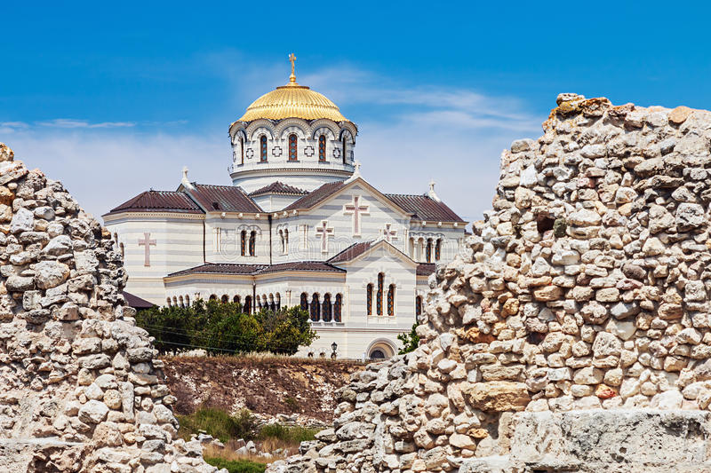View of Vladimir Cathedral in Tauric Chersonesos, Sevastopol cit. Y, Crimea stock photography