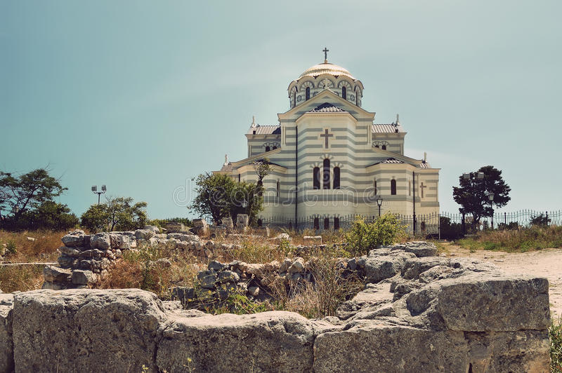 View of Vladimir Cathedral in Tauric Chersonesos, Sevastopol city, Crimea royalty free stock photo