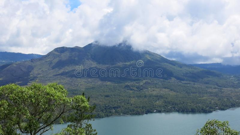 View of volcano and Batur lake, in Kintamani mountain area stock photography
