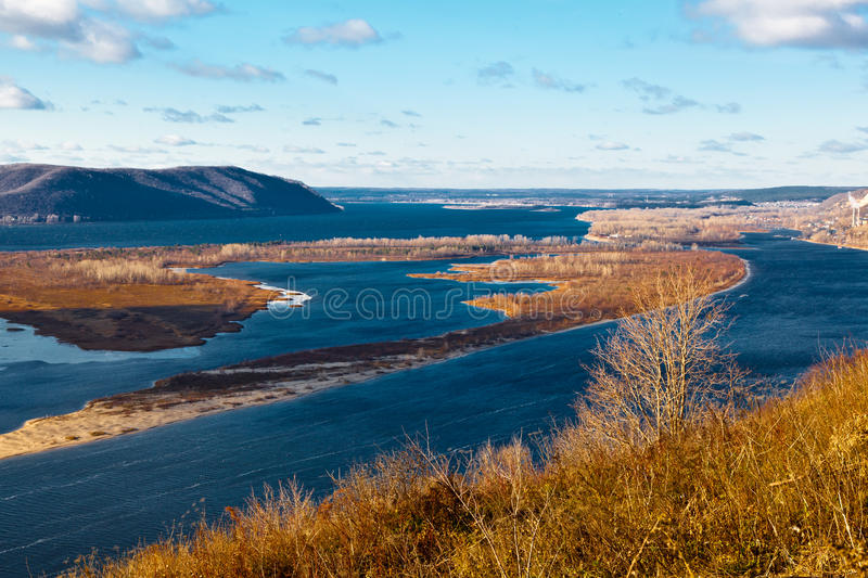 View of Volga River Bend near Samara. Panoramic View of Volga River Bend near Samara, Russia stock image
