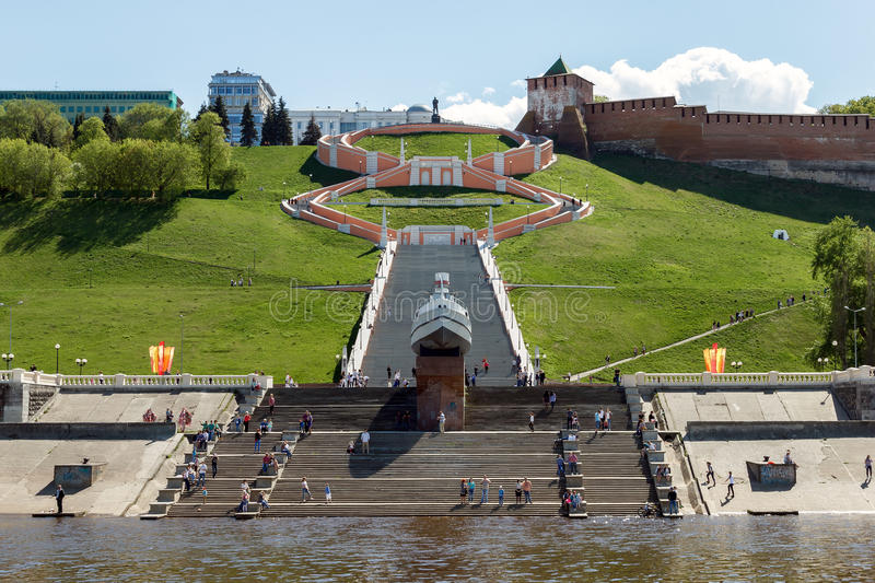 View from the Volga River on Nizhny Novgorod sights in the Victory Day stock images