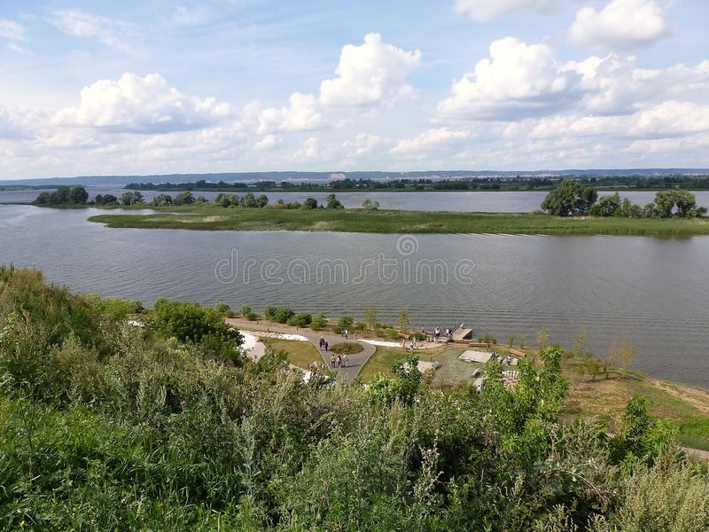 View of the Volga river on a summer day stock photo