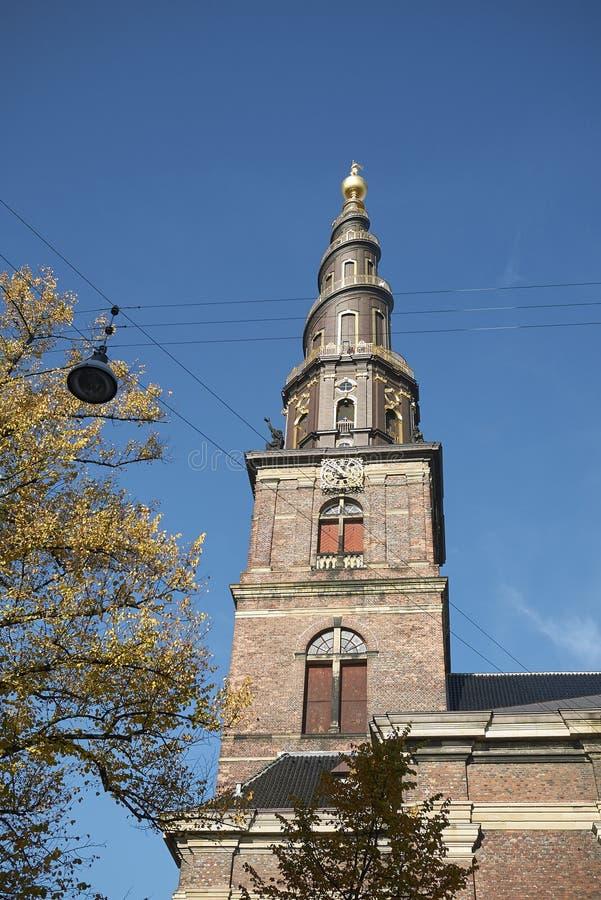 View of Vor Frelsers kirke spire. Copenhagen, Denmark - October 10, 2018 : View of Vor Frelsers kirke spire, our saviour church stock images