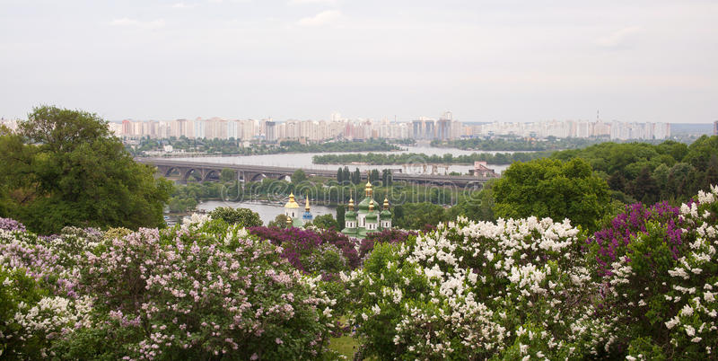 View on Vydubitsky monastery and left bank of the Dnieper. Kiev, Ukraine stock images