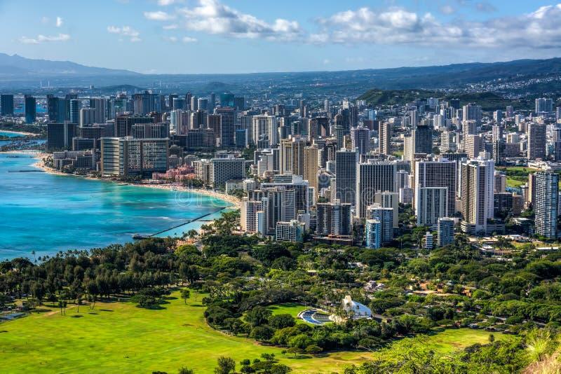 Waikiki Beach and Honolulu. View of the Waikiki Beach and Honolulu on the island of Oahu, Hawaii royalty free stock image