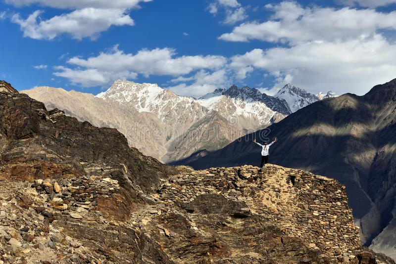 View on the Wakhan valley in the Pamir mountain inTajikistan royalty free stock photography
