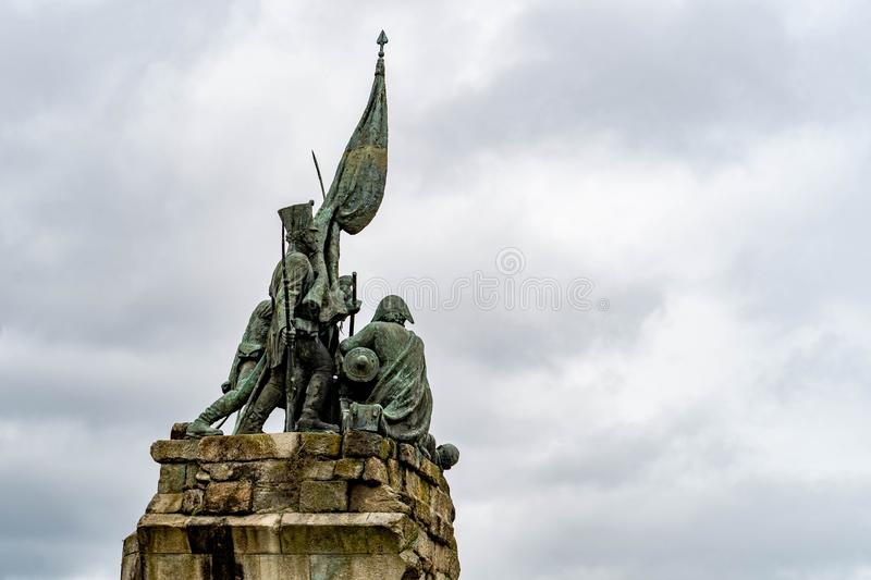 Walk through the streets of the city of Pontevedra in Galicia, Spain. View walk streets city pontevedra galicia spain statue stone royalty free stock photography