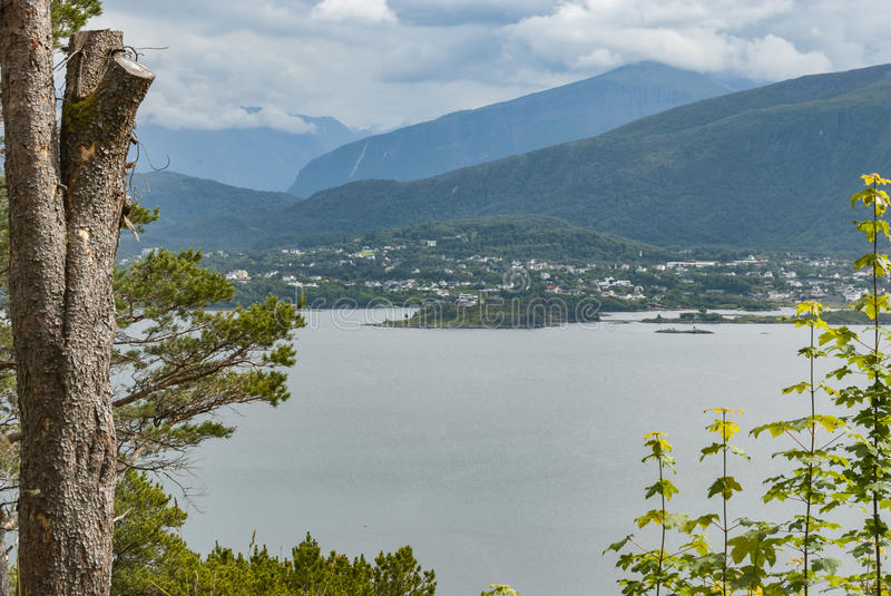 View from walking trail at Aksla in Norway. In summer royalty free stock photo