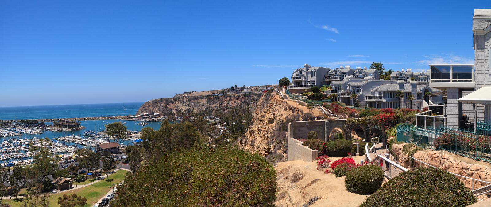View of the walkway above the Dana Point harbor stock photos