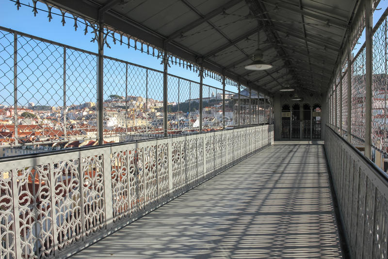 View from the walkway of the Santa Justa Lift. Lisbon. Portugal. The Santa Justa Lift connects the lower streets of the Baixa with the higher Largo do Carmo ( stock photo