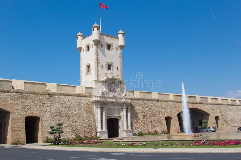 Old Town Gate in Cadiz. Main entrance building in Cadiz, Spain. stock photo