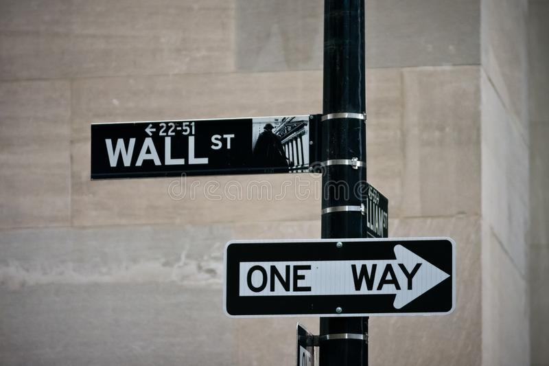 Wall street sign in the Financial District of Lower Manhattan royalty free stock photography