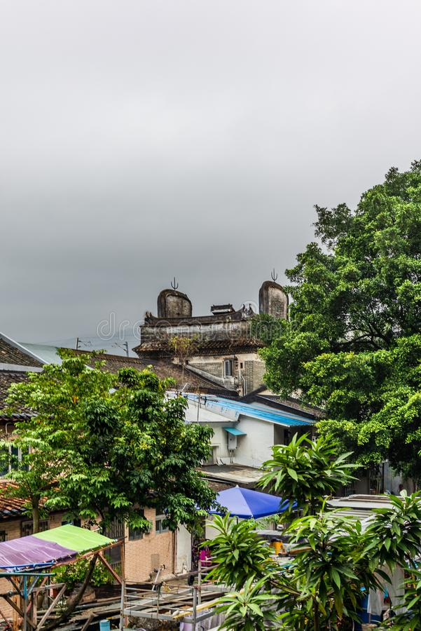 View of the walled village of Tsang Tai Uk also known as Shan Ha Wai in the Honk Kong New Territories. 1 royalty free stock photo