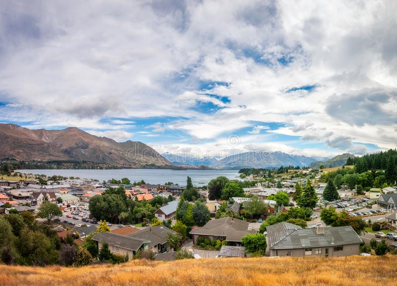 View from above of Wanaka alpine resort town in New Zealand royalty free stock photography