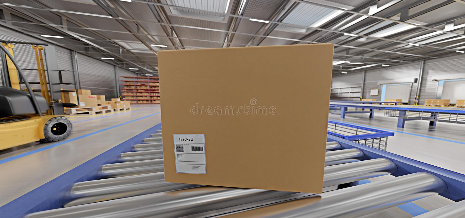 Warehouse goods stock background 3d rendering. View of a Warehouse goods stock background 3d rendering royalty free stock photography