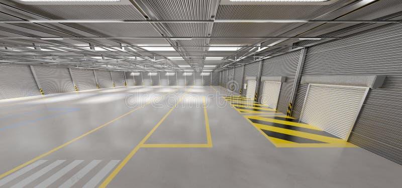 Warehouse goods stock background 3d rendering. View of a Warehouse goods stock background 3d rendering stock image
