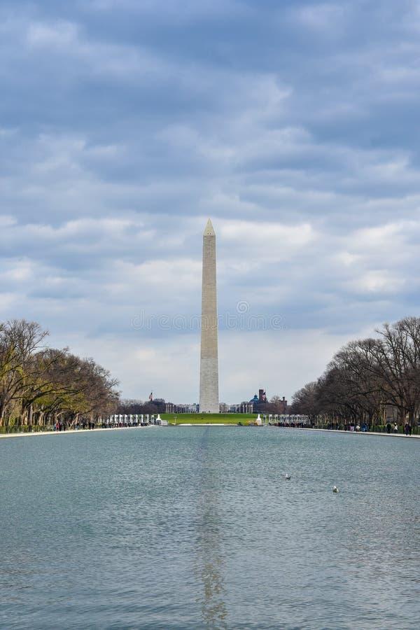 View of Washington Monument from Abraham Lincoln Memorial. Washington DC, USA. stock photography