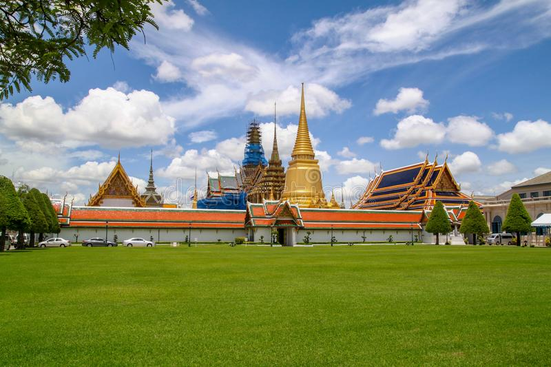 View of wat phra kaew in summer and blue sky ,bangkok,thailand royalty free stock images