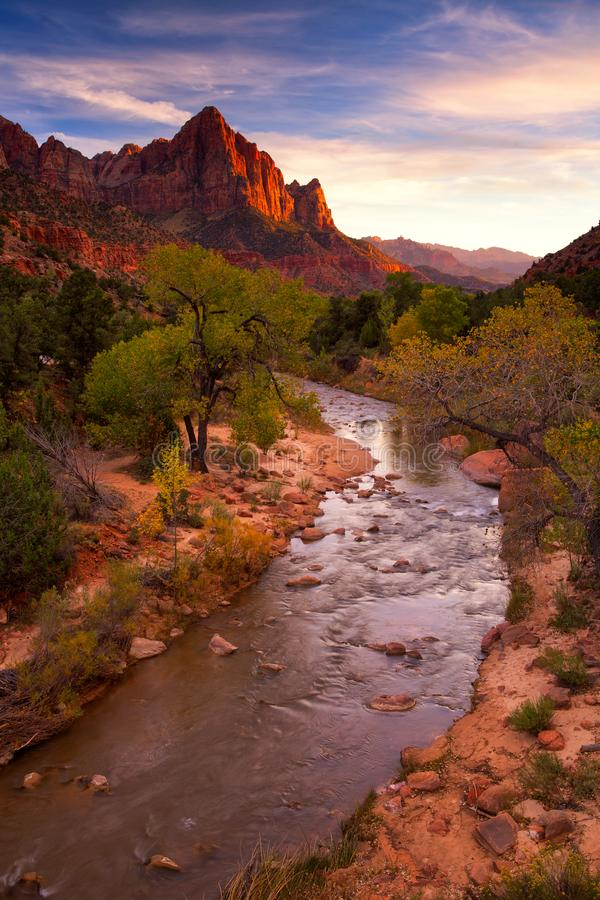 View of the Watchman mountain and the virgin river in Zion National Park located in the Southwestern United States, Utah stock photos