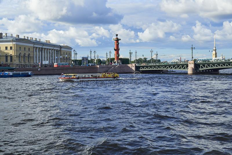 View from the water on the Kunstkamera, Rostral column and the Peter and Paul Fortress i stock image