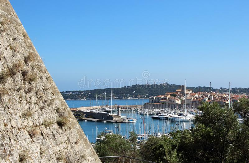 View on water port with parked boats and yachts. On blue sea and sky background, coast, nice, summer, landscape, tourism, travel, nature, france, vacation royalty free stock images