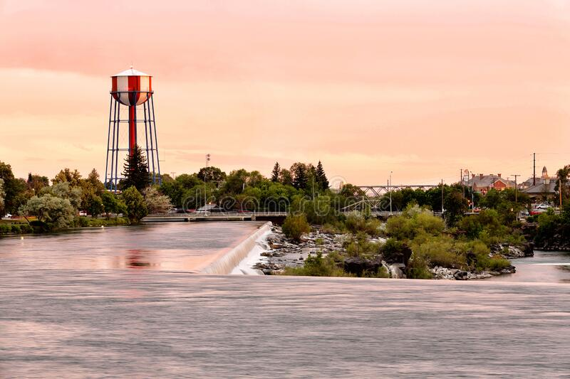 The water tower owned by the city of Idaho Falls Idaho. A view of the water tower, and the Snake river and the water fall that the city of Idaho Falls, ID USA is stock photo