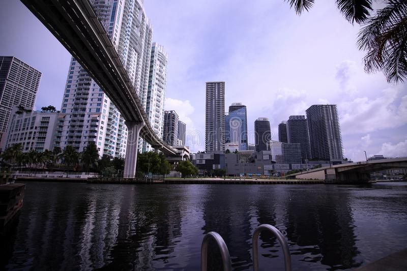View from the Water Under the Metro Rail Bridge in Brickell royalty free stock photos