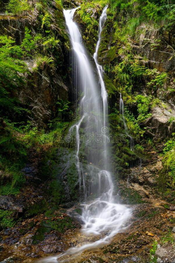 View of the waterfalls in Fahl in the Black Forest region of Germany in summer. A view of the waterfalls in Fahl in the Black Forest region of Germany in summer stock images