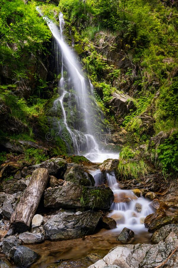 View of the waterfalls in Fahl in the Black Forest region of Germany in summer. A view of the waterfalls in Fahl in the Black Forest region of Germany in summer stock photo