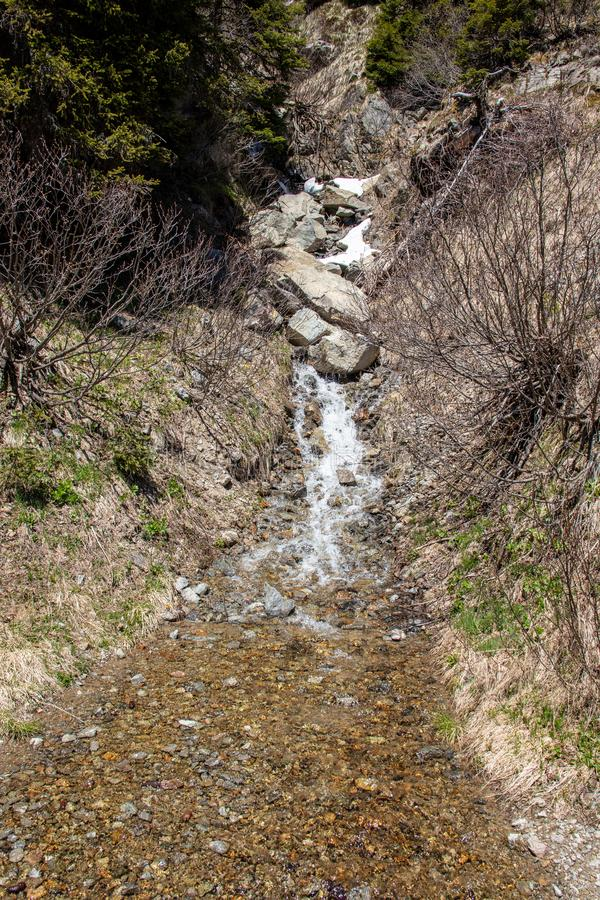 View of waterfalls and mountain streams with a lot of melt water. In spring in the swiss alps stock photos