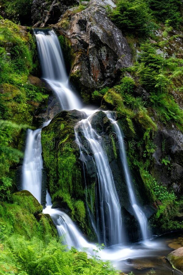 View of the waterfalls in Triberg in the Black Forest region of Germany in summer. A view of the waterfalls in Triberg in the Black Forest region of Germany in stock image