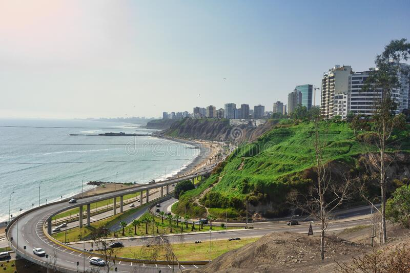 View of the waterfront of Lima, capital of Peru.  stock images