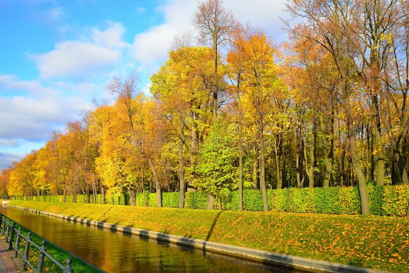 View of the waterfront Swan canal Summer Garden on Sunny autumn. Day. St. Petersburg stock photos
