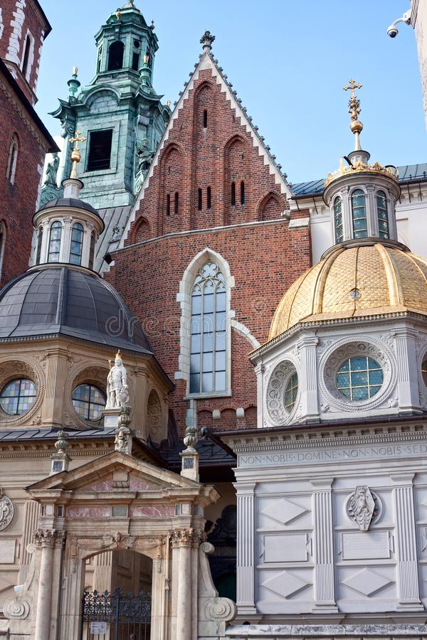 View of the Wawel Cathedral inside Wawel Castle in the city of Krakow. On a sunny summer day, Poland stock photos