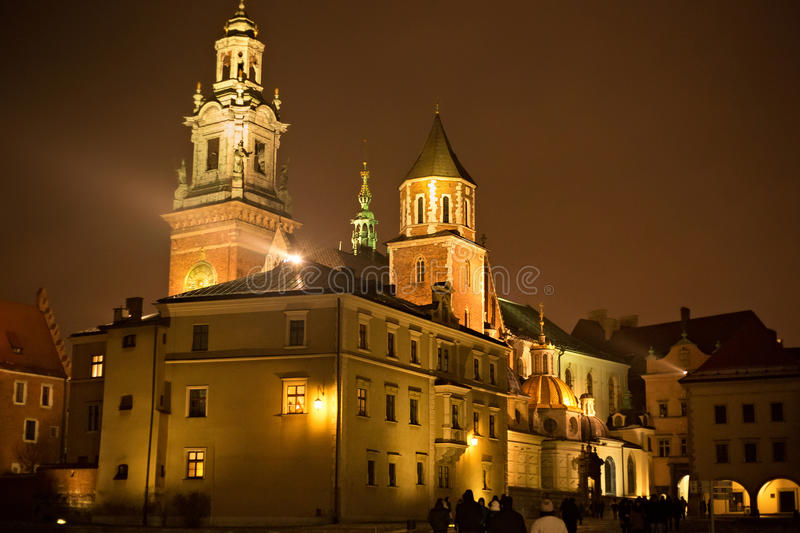 View of the Wawel Royal Archcathedral Basilica of Saints Stanislaus and Wenceslaus and Wawel castle. On the Wawel Hill at winter night, Krakow, Poland royalty free stock photo