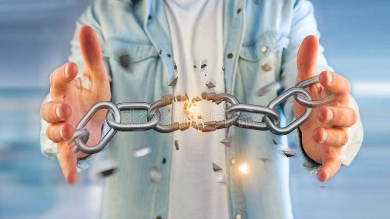 Weak link of a Broken chain exploding - 3d render royalty free stock image