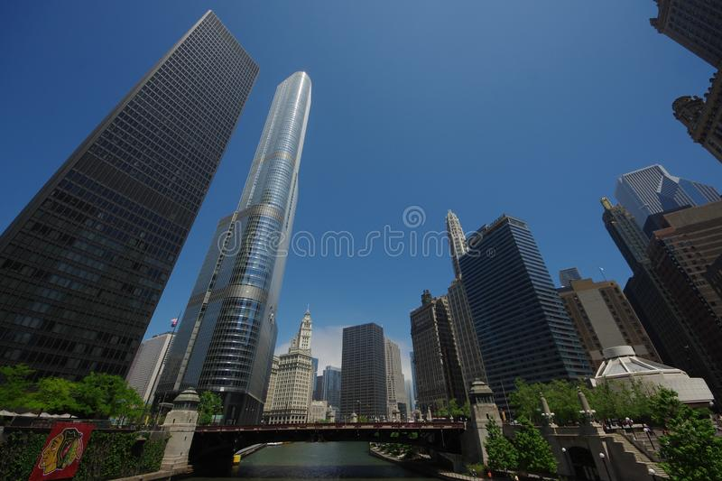 View of Wells Street Bridge in Chicago, Illinois, USA royalty free stock photography