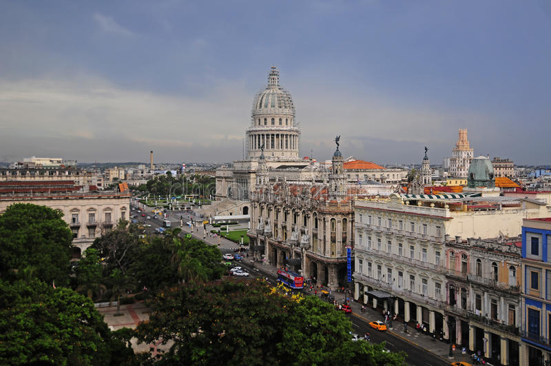 View of the west side of Havana's Parque Central, Cuba royalty free stock photos