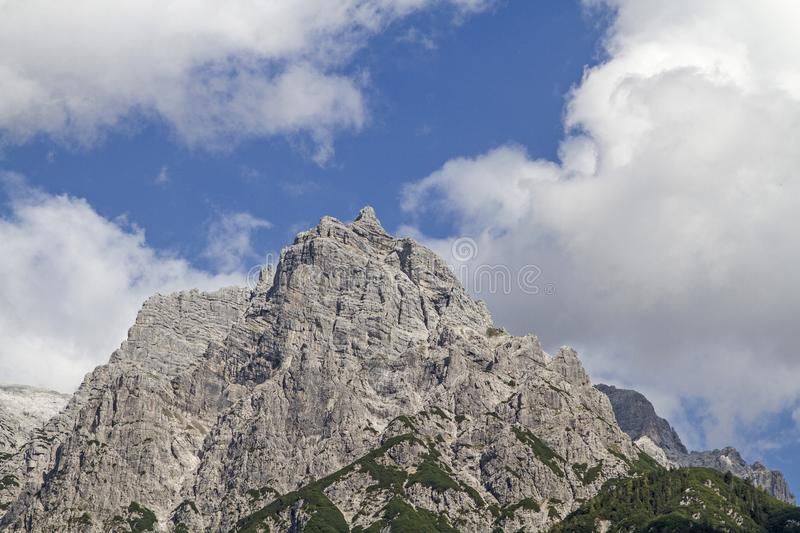 View of the western part of the Loferer Steinberge. From the Fieberbrunn valley you can admire the mighty rocky peaks of the Loferer Steinberge with the mighty royalty free stock images
