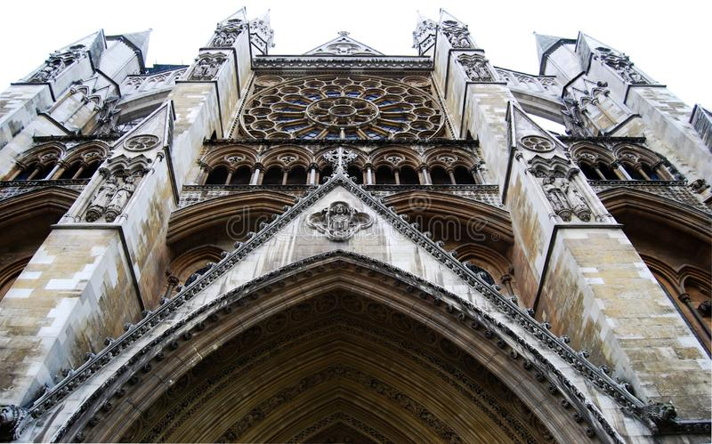 View of Westminster Abbey main entrance, London, England royalty free stock images