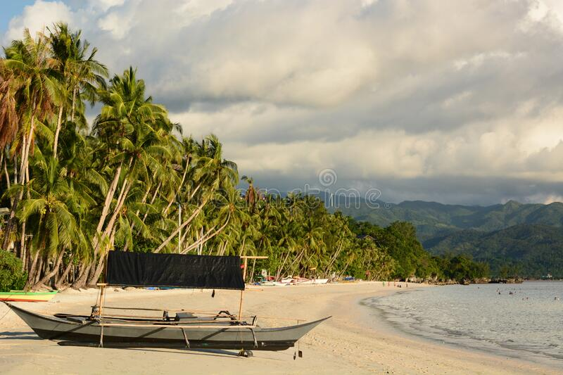 View of White beach, station three. Boracay. Aklan. Western Visayas. Philippines stock images