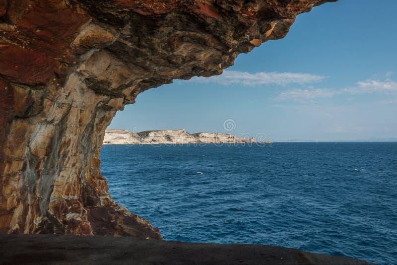 Bonifacio cliffs and Sardinia coast viewed from WW2 lookout stock photo