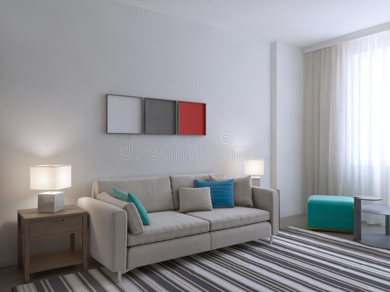 View of white room with large carpet royalty free illustration