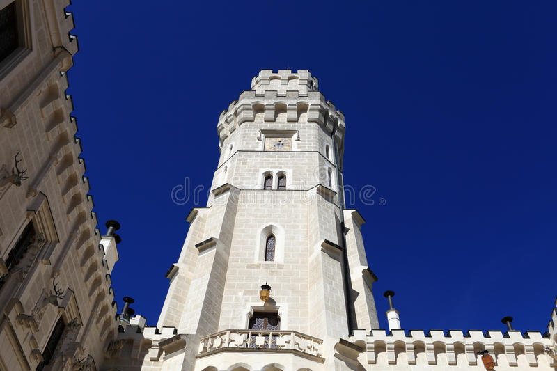View of white tower castle at Hluboka nad Vltavou town. Czech republic royalty free stock images