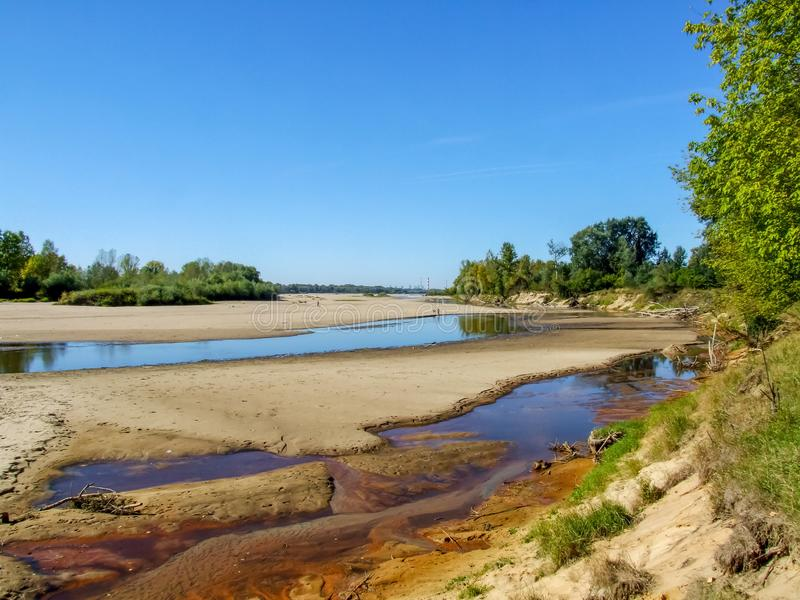 View on wild Vistula riverside in Jozefow near Warsaw in Poland. Riverbank of Vistula in Jozefow near Warsaw and Otwock. Numerous nature reserves are located royalty free stock photos