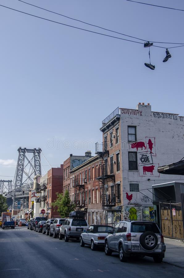 View of the Williamsburg Bridge from the 6th St in the Williamsburg neighborhood, New York City. Usa stock image