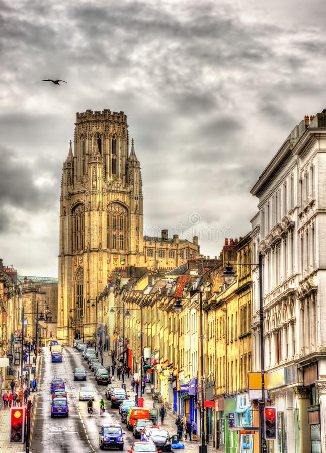 View of The Wills Memorial Building with Park Street in Bristol. England stock image