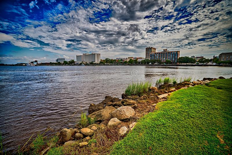 A view of Wilmington North Carolina from across the Cape Fear Ri. Ver royalty free stock photography