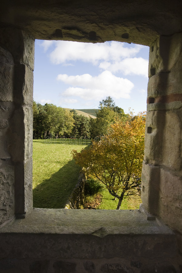 View of the window of abandoned castle stock photography